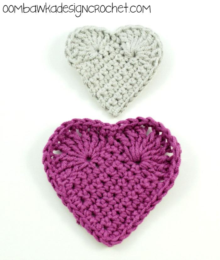 Gray And Pink Hearts: Crochet Heart Patterns • Oombawka Design Crochet