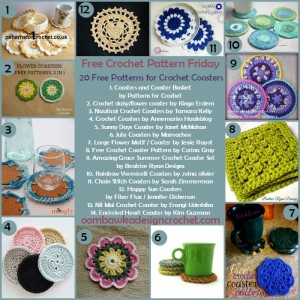 20 Free Patterns Crochet Coasters @OombawkaDesign