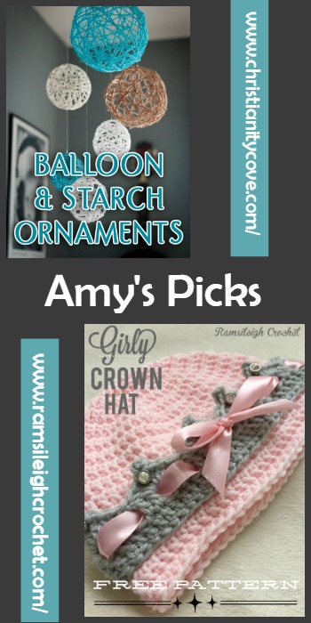 Amy's Picks Christianity Cove Balloon and Starch Ornaments and Girly Crown Hat Free Pattern Ramsi Leigh Crochet @OombawkaDesign