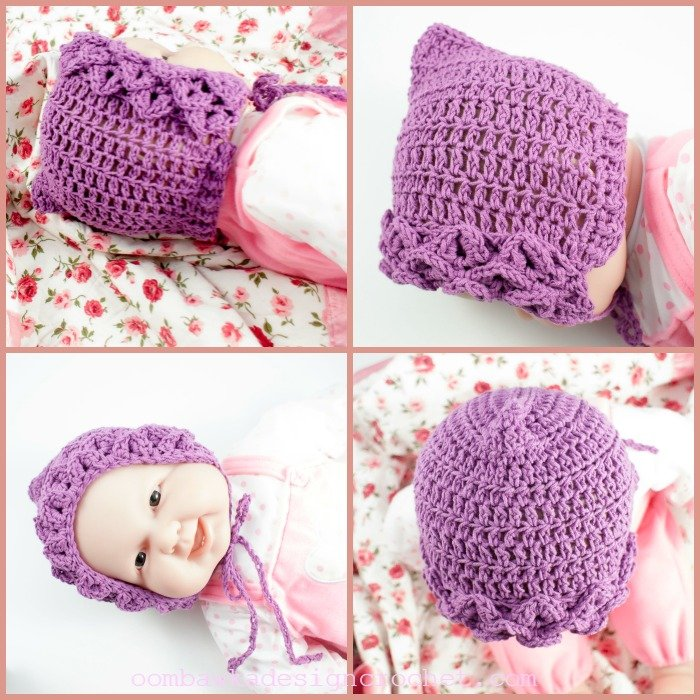Crocodile Stitch Baby Bonnet Free Pattern @OombawkaDesign