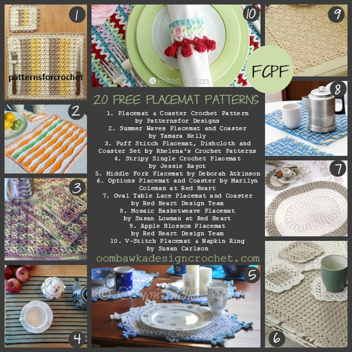 20 Free Crochet Placemat Patterns Oombawka Design Crochet