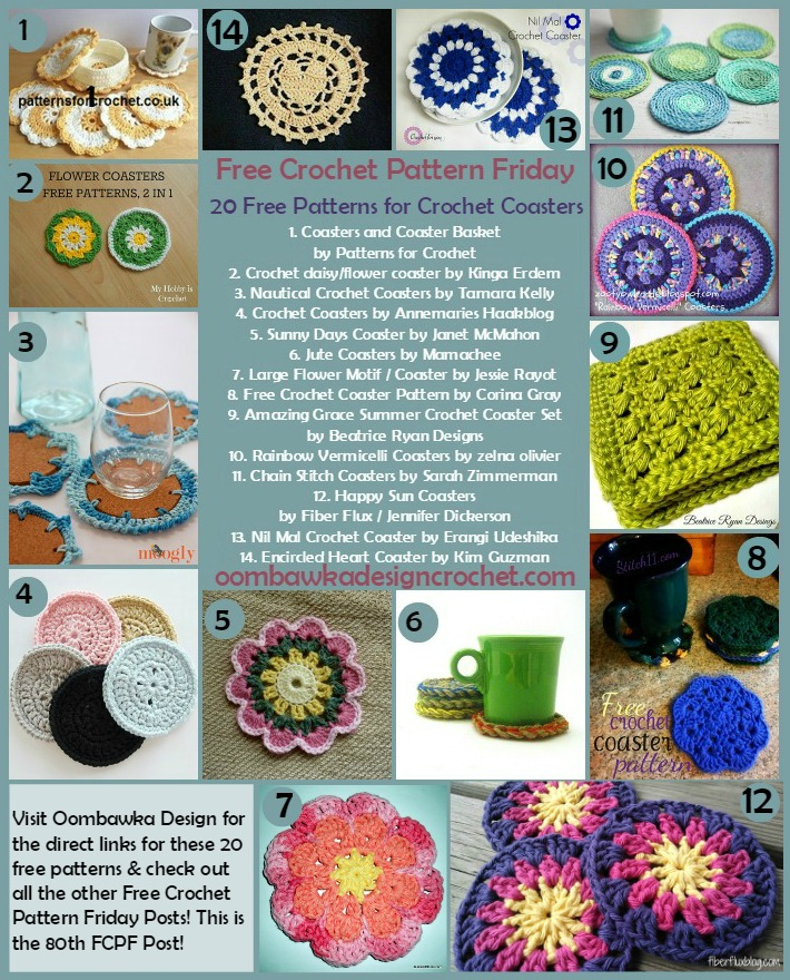 FCPF 20 Free Patterns Crochet Coasters @OombawkaDesign