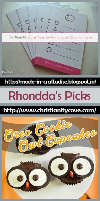 Rhondda's Picks Care Tags from Made in Craftadise and Oreo Cookie Owl Cupcakes from Christianity Cove @OombawkaDesign
