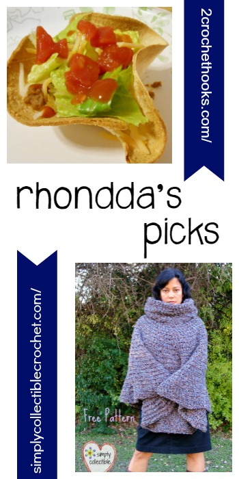 Rhondda's Picks |Mini Taco Salad Recipe/Cowl Hooded Ponch | Tuesday PIN-spiration Link Party