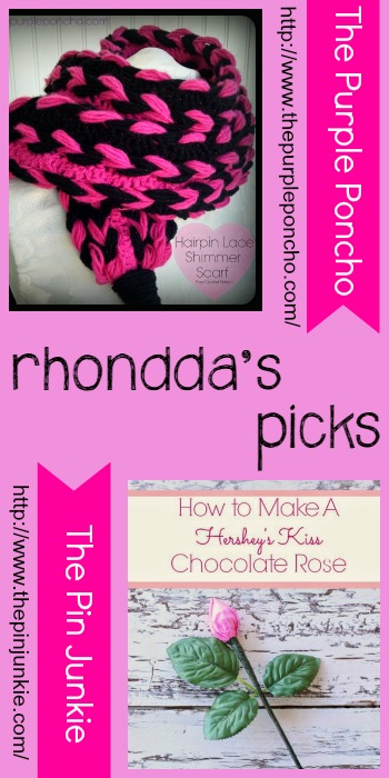 Rhondda's Picks Hairpin Lace Shimmer Scarf and How to Make a Hershey's Kiss Chocolate Rose. Tuesday PIN-spiration Link Party