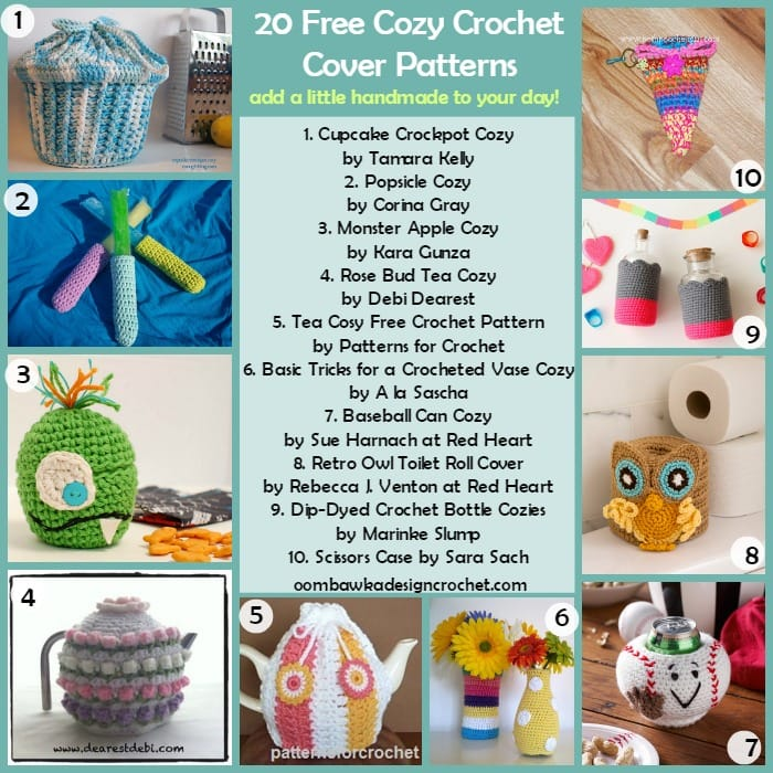20 Free Cosy Cozy Crochet Cover Patterns @OombawkaDesign FCPF