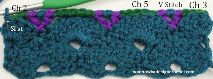 Row 4 - Fan and V Stitch - LLANCS @OombawkaDesign