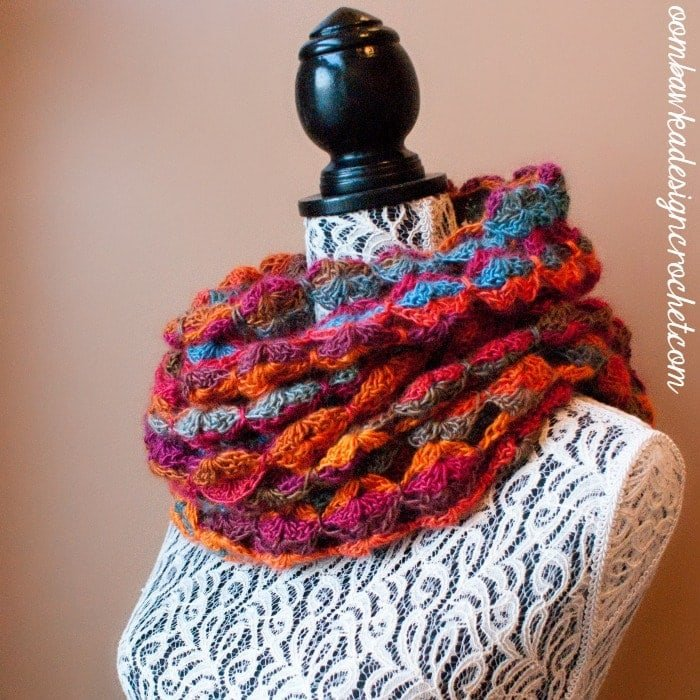 Painted Sunrise Summer Wrap as a Cowl @OombawkaDesign