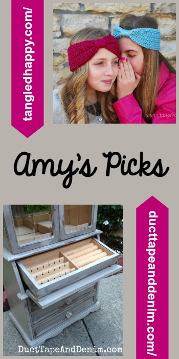 Amy's Picks |Wrapped Headband/Painted Jewelry Cabinet | Tuesday PIN-spiration Link Party