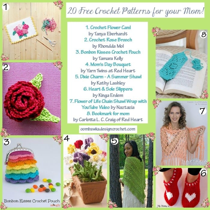 20 Free Crochet Patterns for Mom @OombawkaDesign