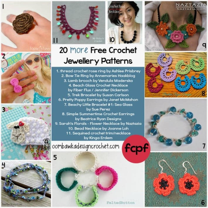 20 More Jewelry Patterns to Crochet @OombawkaDesign