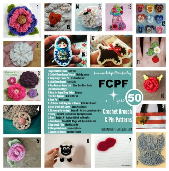 Brooches and Pins Free Patterns in Crochet @OombawkaDesign