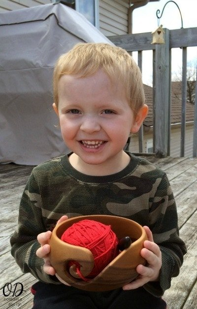 Drew holding Furls Yarn Bowl