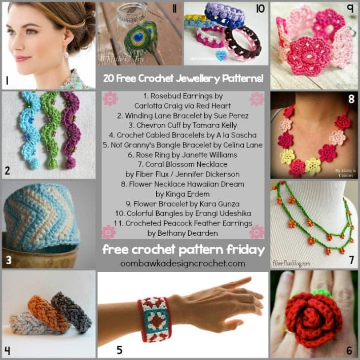 20 Free Jewelry Patterns to Crochet @OombawkaDesign
