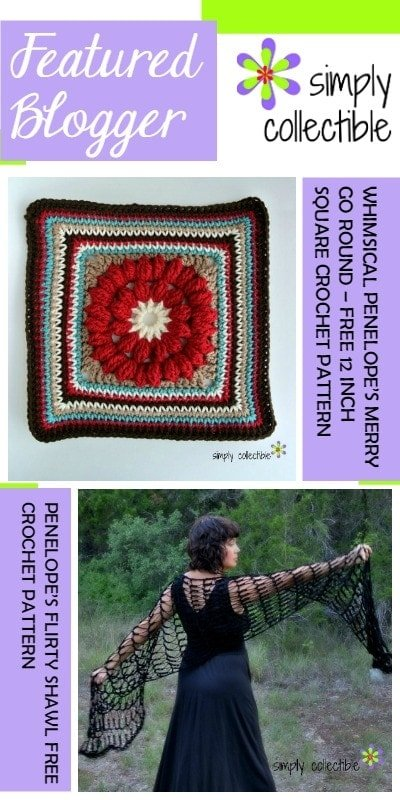 Pinspiration Link Pary Featured Blogger Simply Collectible Penelopes Merry GO Round Square and Flirty Shawl Patterns @OombawkaDesign