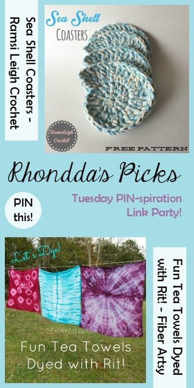 PINspiration Link Party Rhonddas Picks Sea Shell Coasters and Fun Tea Towels