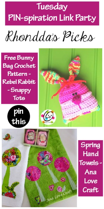 Tuesday PIN-spiration Link Party Free Bunny Bag Crochet Pattern - Rebel Rabbit - Snappy Tots and Spring Hand Towels - Ana Love Craft