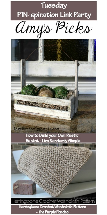 How to Build your Own Rustic Basket - Live Randomly Simple (bottom) Herringbone Crochet Washcloth Pattern - The Purple Poncho