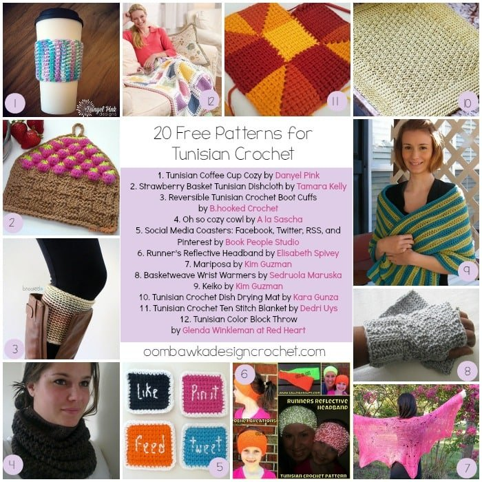 Tunisian Crochet Round Up @OombawkaDesign