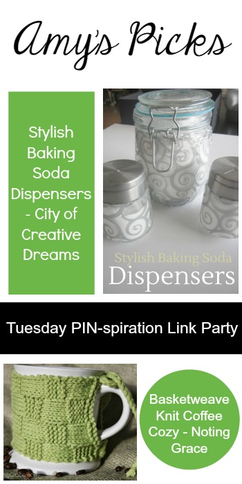 Amy's Picks |Stylish Baking Soda Dispensers/Basketweave Knit Coffee Cozy | Tuesday PIN-spiration Link Party