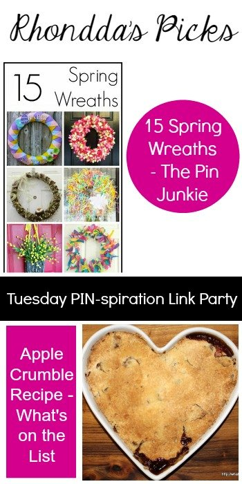 Rhondda's Picks |15 Spring Wreaths/Apple Crumble Recipe | Tuesday PIN-spiration Link Party