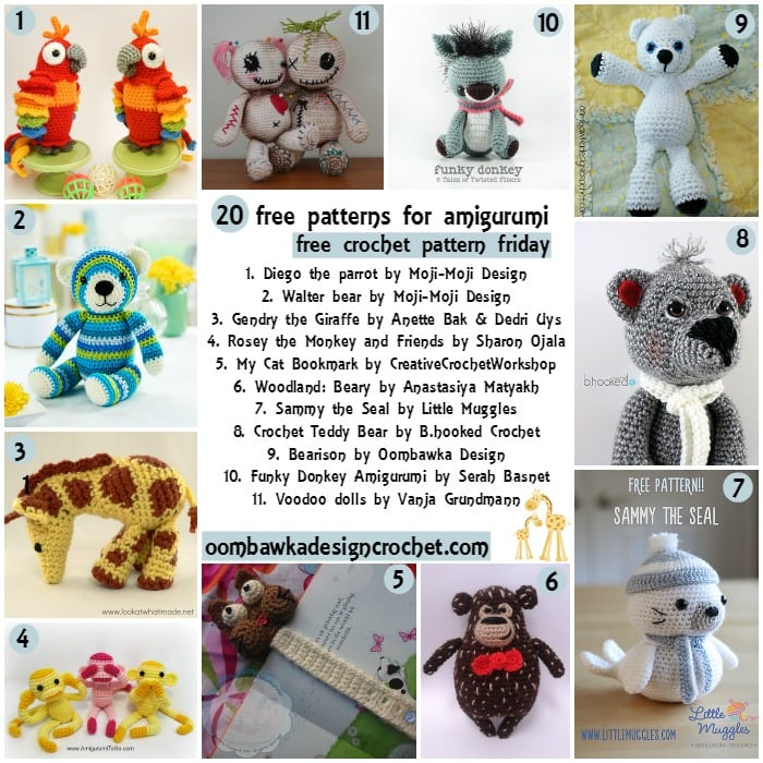 Toys To Crochet Free Patterns : 20 Free Patterns for Crochet Toys Oombawka Design Crochet