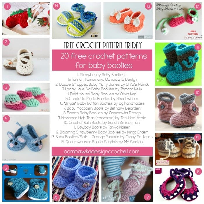 Free Crochet Pattern Baby Gifts : 20 Free Patterns for Crochet Baby Booties Oombawka ...
