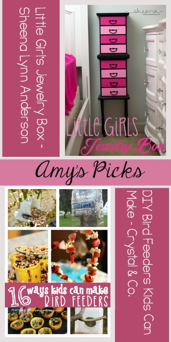 Tuesday PIN-spiration Party | Amy's Picks DIY Bird Feeders, Crystal&Co Little GIrls Jewelery Box, Sheena