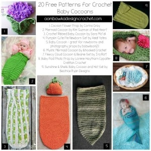 20 Free Patterns for Crochet Baby Cocoons @OombawkaDesign
