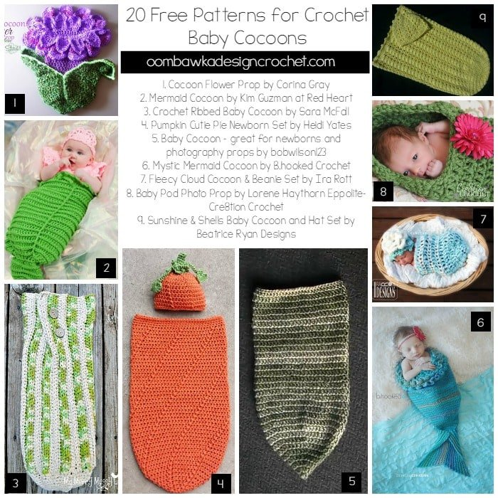 Christmas Baby Cocoon Crochet Pattern : 20 Free Patterns for Crochet Baby Cocoons Oombawka ...