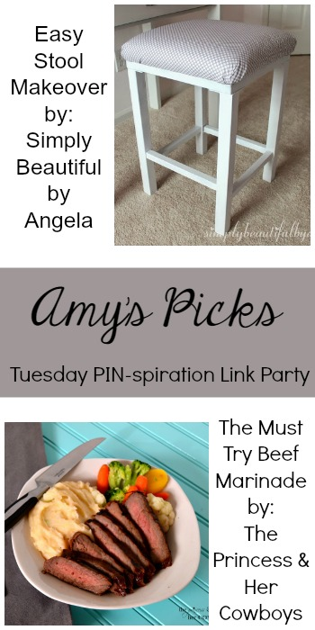 Amy's Picks  Easy Stool Makeover/The Must Try Beef Marinade   Tuesday PIN-spiration Link Party