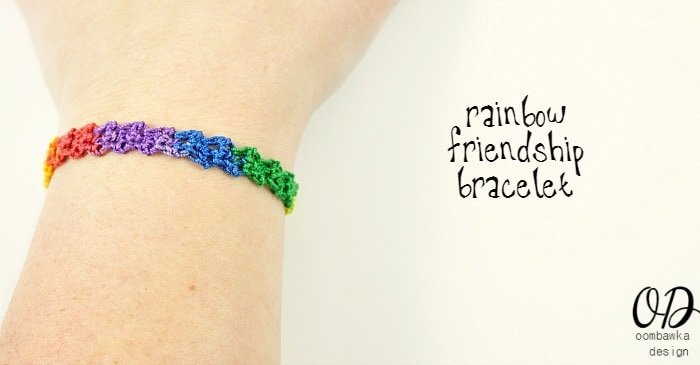 Cover Image | Rainbow Friendship Bracelet | Free Pattern @OombawkaDesign