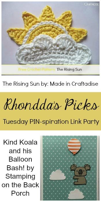 Rhondda's Picks  The Rising Sun Free Crochet Pattern/Kind Koala and his Balloon Bash   Tuesday PIN-spiration Link Party