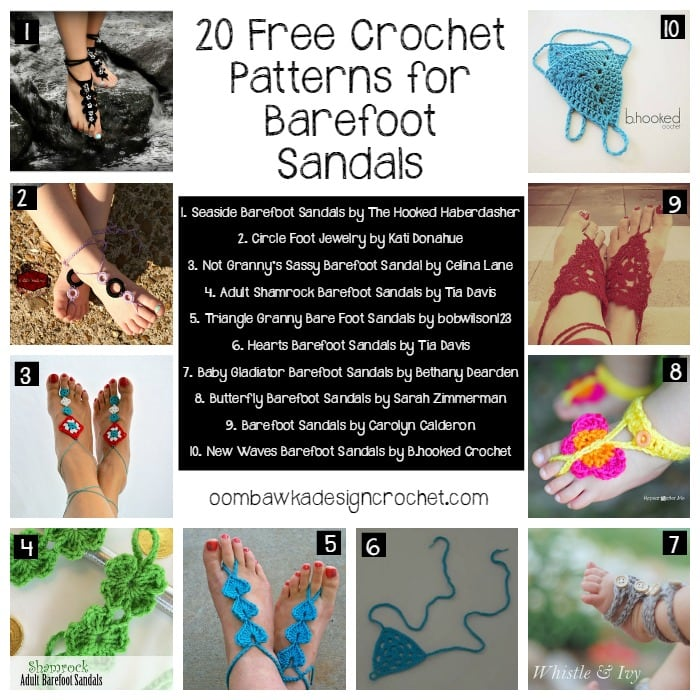 20 Free Crochet Patterns for Barefoot Sandals @OombawkaDesign