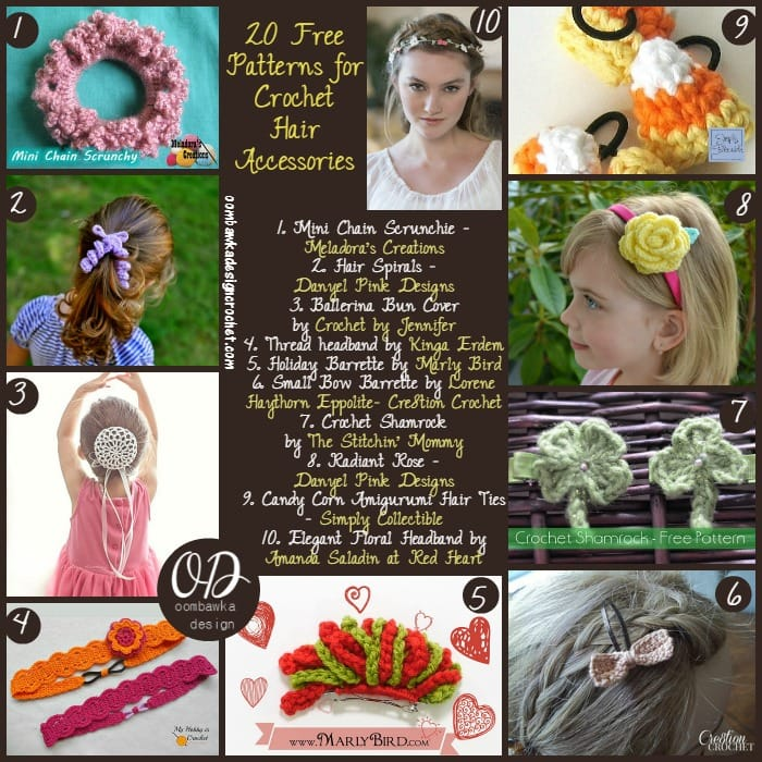 20 Free Patterns for Crochet Hair Accessories | FCPF @OombawkaDesign