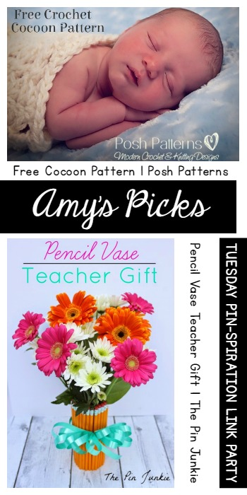 Amys Picks - Free Cocoon Pattern Posh Patterns and Pencil Vase Teacher Gift The Pin Junkie | Tuesday PIN Party