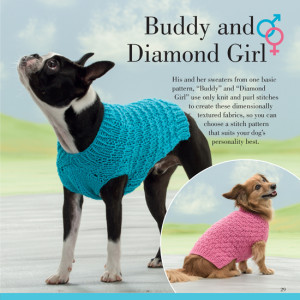Buddy and Diamond Girl   Seamless Knits for Posh Pups   Martingale Book Review   Oombawka Design