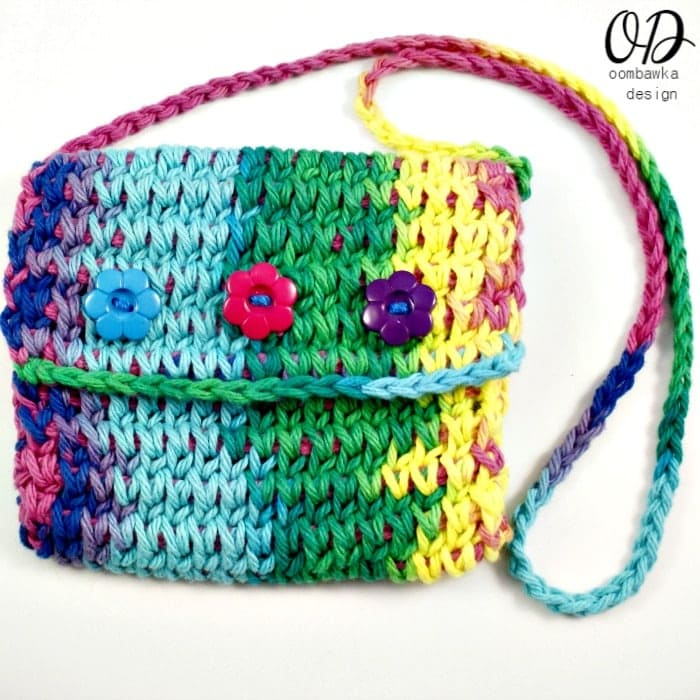 Square Image | Children's Crochet Purse | Free Tunisian Crochet Pattern @OombawkaDesign