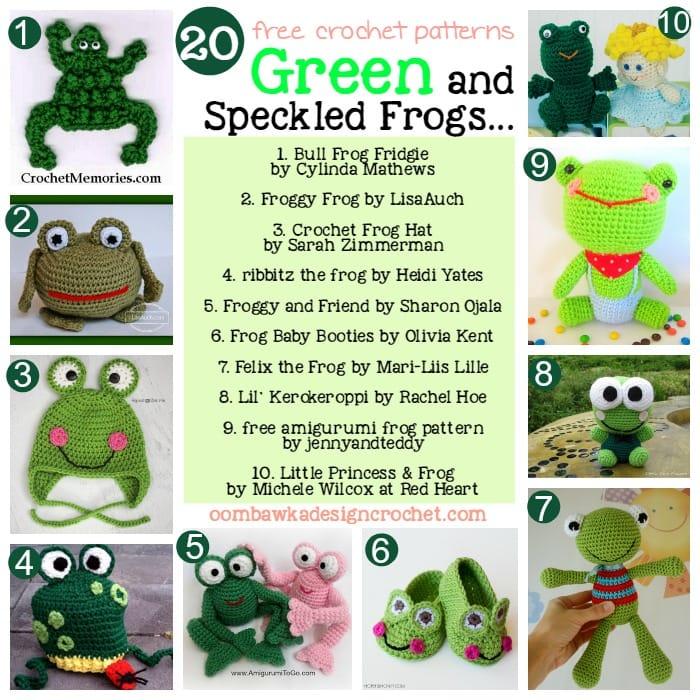Free Crochet Pattern Frog Slippers : 20 Free Patterns for Crochet Frogs Oombawka Design Crochet
