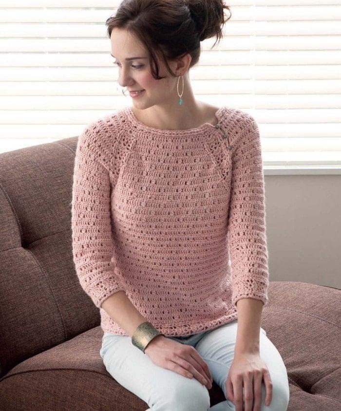 Rose Quartz Pullover | Blueprint Crochet Sweaters | Book Review | Oombawka Design