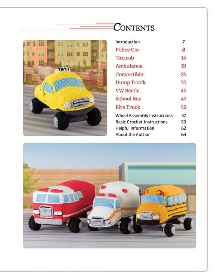 Table of Contents | Honk! Beep! Vroom! - Crochet Toys That Move | Review | @OombawkaDesign