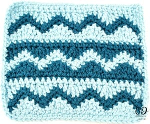Wave and Chevron Stitch Square Tutorial