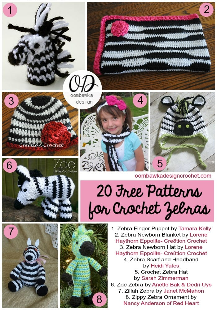 20 Free Patterns For Crochet Zebras | FCPF