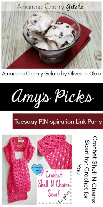 Amy's Picks | Amarena Cherry Gelato/Crochet Shell n Chains Scarf | Tuesday PIN-spiration Link Party www.thestitchinmommy.com
