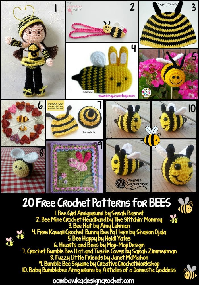 20 Free Crochet Patterns for Bees | Free Crochet Pattern Friday Round Up at Oombawka Design