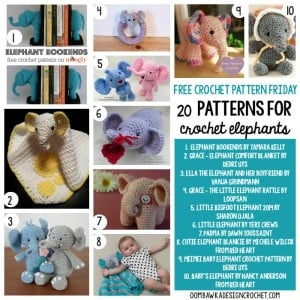 20 Free Patterns for Crochet Elephants | oombawkadesigncrochet.com