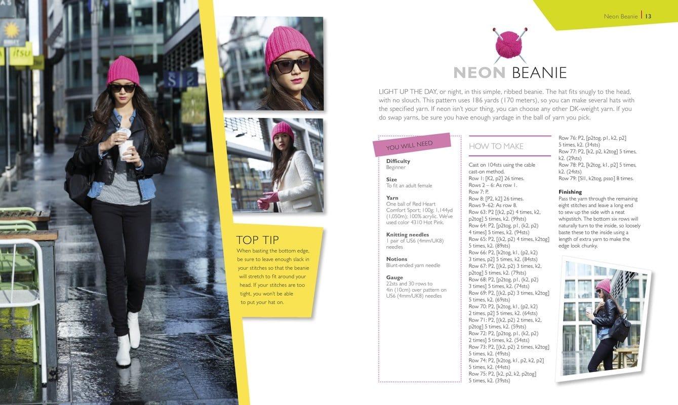 Neon Beanie   Hot Diggity Dog   One Ball of Yarn   Book Review   OombawkaDesign