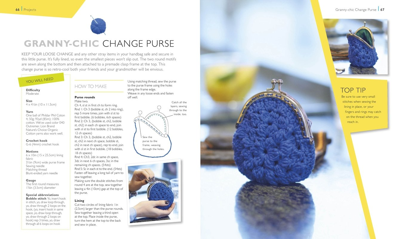 Granny-Chic Change Purse | Hot Diggity Dog | One Ball of Yarn | Book Review | OombawkaDesign