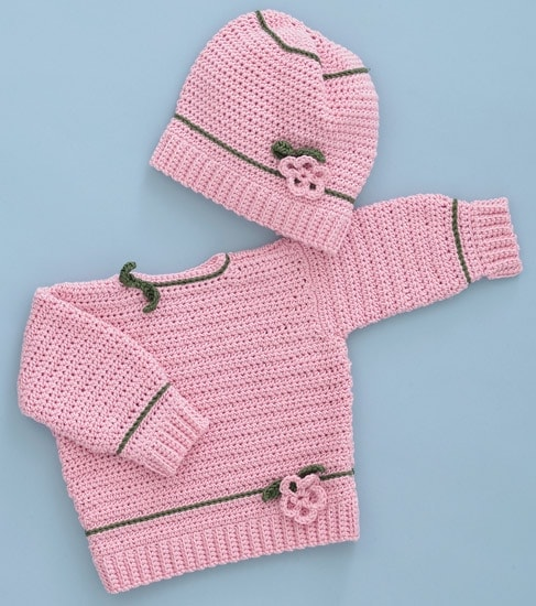Pink Posies Pullover and Hat | Sweet Baby Crochet | Book Review | Oombawka Design