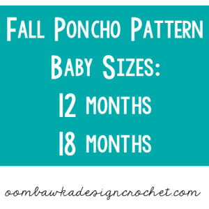 Fall Poncho for Baby! Size 12 months and 18 months